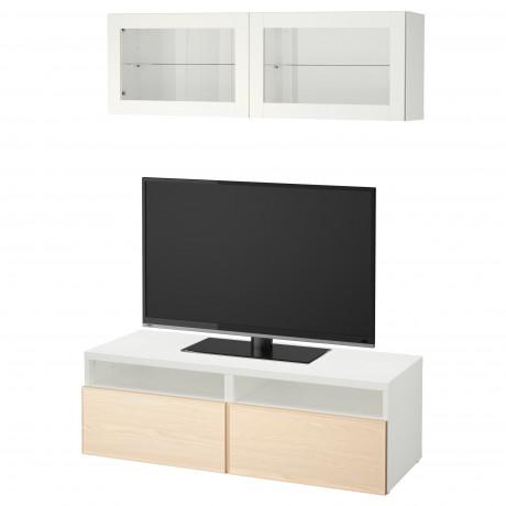 Шкаф для ТВ, комбин/стеклян дверцы БЕСТО под беленый дуб, Сельсвикен глянцевый/белый матовое стекло фото 12