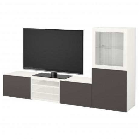 Шкаф для ТВ, комбин/стеклян дверцы БЕСТО Лаппвикен, Синдвик белый прозрачное стекло фото 43
