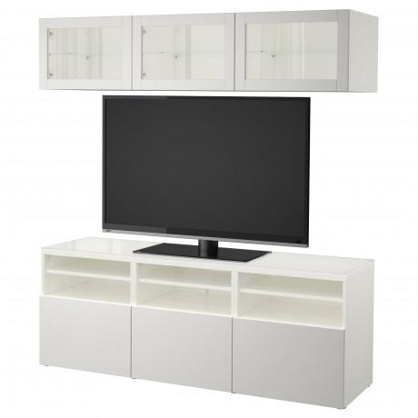 Шкаф для ТВ, комбин/стеклян дверцы БЕСТО Лаппвикен, Синдвик белый прозрачное стекло фото 5