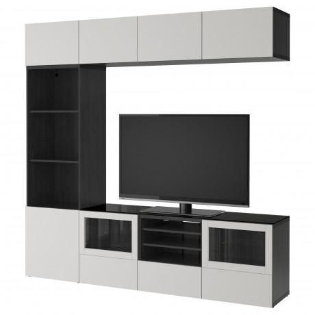 Шкаф для ТВ, комбин/стеклян дверцы БЕСТО Лаппвикен, Синдвик белый прозрачное стекло фото 8