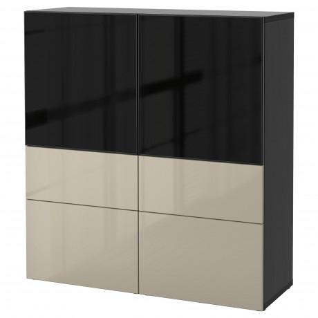 Комбинация д/хранения+стекл дверц БЕСТО белый, вассвикен белый прозрачное стекло фото 44