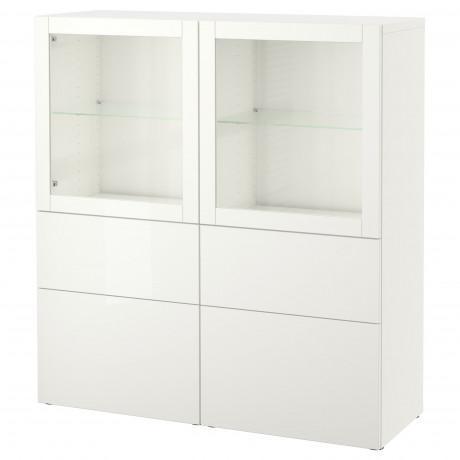 Комбинация д/хранения+стекл дверц БЕСТО белый, вассвикен белый прозрачное стекло фото 55