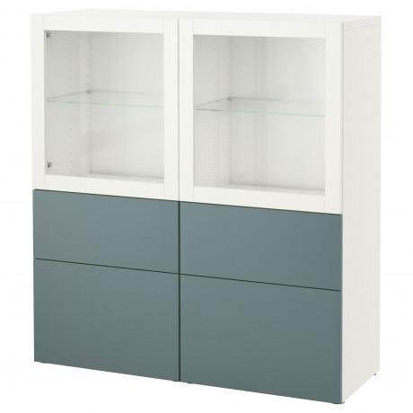 Комбинация д/хранения+стекл дверц БЕСТО белый, вассвикен белый прозрачное стекло фото 14