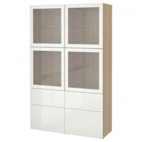 Комбинация д/хранения+стекл дверц БЕСТО Лаппвикен, Синдвик белый прозрачное стекло фото 44