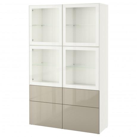 Комбинация д/хранения+стекл дверц БЕСТО Лаппвикен, Синдвик белый прозрачное стекло фото 56