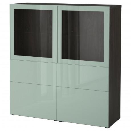 Комбинация д/хранения+стекл дверц БЕСТО белый, вассвикен белый прозрачное стекло фото 27