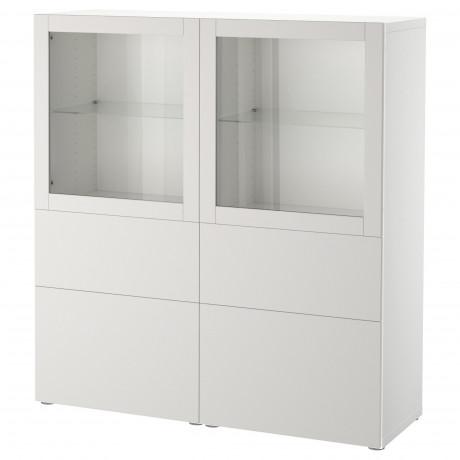 Комбинация д/хранения+стекл дверц БЕСТО белый, вассвикен белый прозрачное стекло фото 3
