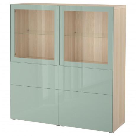 Комбинация д/хранения+стекл дверц БЕСТО белый, вассвикен белый прозрачное стекло фото 42