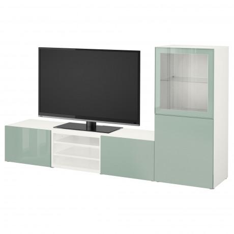 Шкаф для ТВ, комбин/стеклян дверцы БЕСТО Лаппвикен, Синдвик белый прозрачное стекло фото 23
