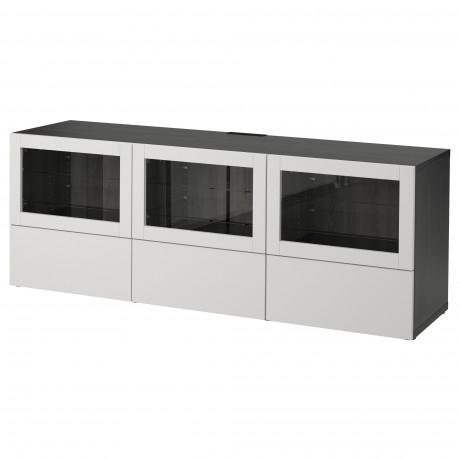 Тумба под ТВ, с дверцами и ящиками БЕСТО под беленый дуб, Вальвикен серо-бирюзовый, прозрачное стекло фото 1