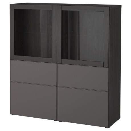 Комбинация д/хранения+стекл дверц БЕСТО белый, вассвикен белый прозрачное стекло фото 16