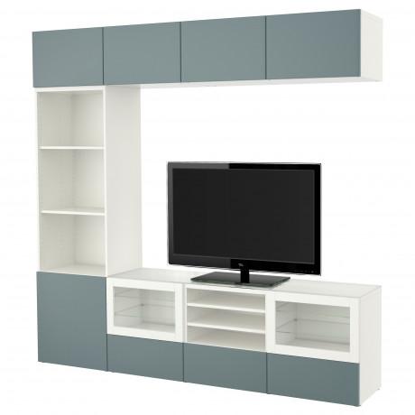 Шкаф для ТВ, комбин/стеклян дверцы БЕСТО Лаппвикен, Синдвик белый прозрачное стекло фото 9
