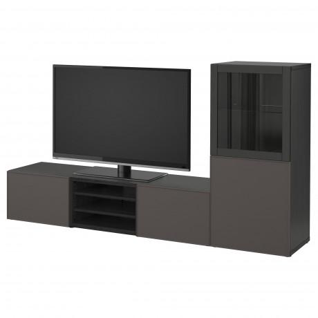 Шкаф для ТВ, комбин/стеклян дверцы БЕСТО Лаппвикен, Синдвик белый прозрачное стекло фото 37