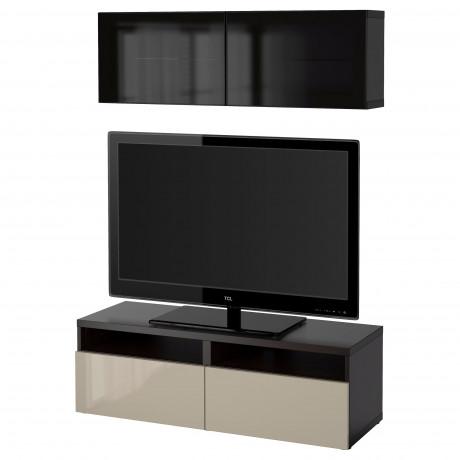 Шкаф для ТВ, комбин/стеклян дверцы БЕСТО под беленый дуб, Сельсвикен глянцевый/белый матовое стекло фото 50