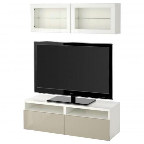 Шкаф для ТВ, комбин/стеклян дверцы БЕСТО под беленый дуб, Сельсвикен глянцевый/белый матовое стекло фото 55