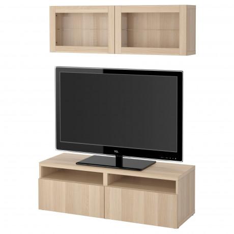 Шкаф для ТВ, комбин/стеклян дверцы БЕСТО под беленый дуб, Сельсвикен глянцевый/белый матовое стекло фото 6