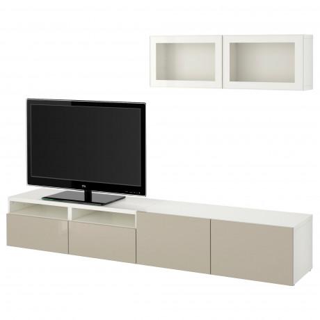 Шкаф для ТВ, комбин/стеклян дверцы БЕСТО Лаппвикен, Синдвик белый прозрачное стекло фото 44