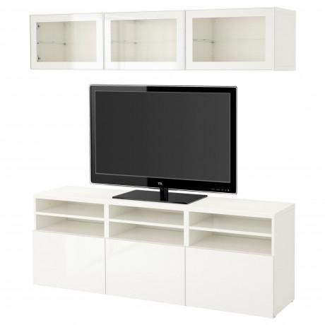 Шкаф для ТВ, комбин/стеклян дверцы БЕСТО Лаппвикен, Синдвик белый прозрачное стекло фото 41