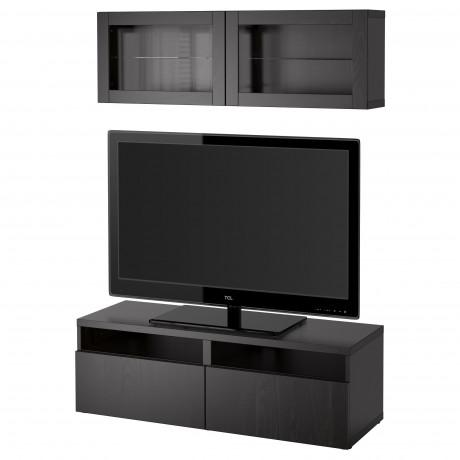 Шкаф для ТВ, комбин/стеклян дверцы БЕСТО под беленый дуб, Сельсвикен глянцевый/белый матовое стекло фото 11