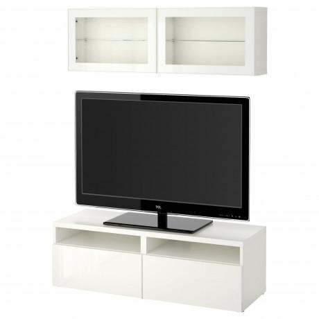 Шкаф для ТВ, комбин/стеклян дверцы БЕСТО под беленый дуб, Сельсвикен глянцевый/белый матовое стекло фото 42
