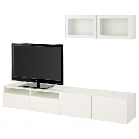 Шкаф для ТВ, комбин/стеклян дверцы БЕСТО Лаппвикен, Синдвик белый прозрачное стекло фото 59