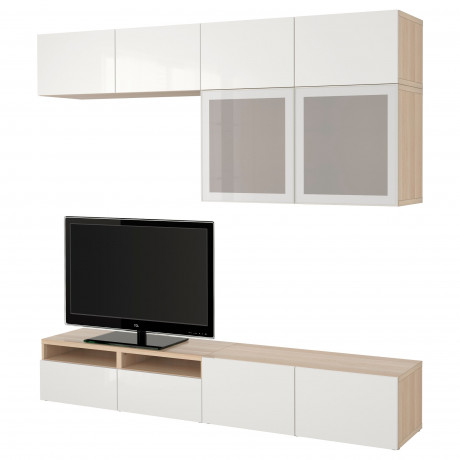 Шкаф для ТВ, комбин/стеклян дверцы БЕСТО Лаппвикен, Синдвик белый прозрачное стекло фото 56