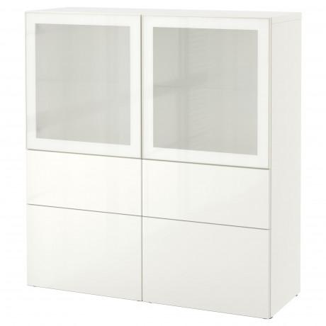 Комбинация д/хранения+стекл дверц БЕСТО белый, вассвикен белый прозрачное стекло фото 38