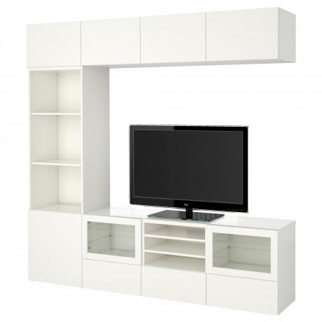 Шкаф для ТВ, комбин/стеклян дверцы БЕСТО Лаппвикен, Синдвик белый прозрачное стекло фото 34
