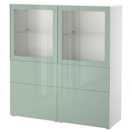 Комбинация д/хранения+стекл дверц БЕСТО белый, вассвикен белый прозрачное стекло фото 28