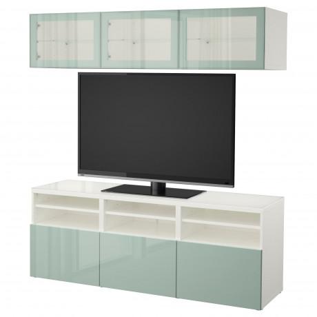 Шкаф для ТВ, комбин/стеклян дверцы БЕСТО Лаппвикен, Синдвик белый прозрачное стекло фото 31