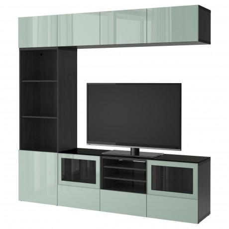 Шкаф для ТВ, комбин/стеклян дверцы БЕСТО Лаппвикен, Синдвик белый прозрачное стекло фото 32
