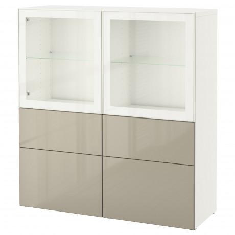 Комбинация д/хранения+стекл дверц БЕСТО белый, вассвикен белый прозрачное стекло фото 49