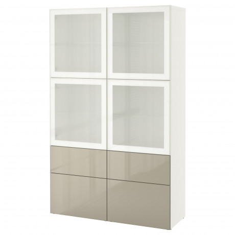 Комбинация д/хранения+стекл дверц БЕСТО Лаппвикен, Синдвик белый прозрачное стекло фото 40