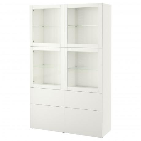 Комбинация д/хранения+стекл дверц БЕСТО Лаппвикен, Синдвик белый прозрачное стекло фото 63