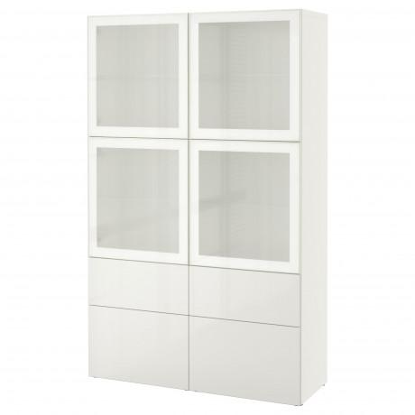 Комбинация д/хранения+стекл дверц БЕСТО Лаппвикен, Синдвик белый прозрачное стекло фото 59