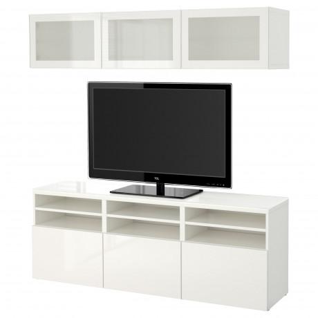 Шкаф для ТВ, комбин/стеклян дверцы БЕСТО Лаппвикен, Синдвик белый прозрачное стекло фото 26