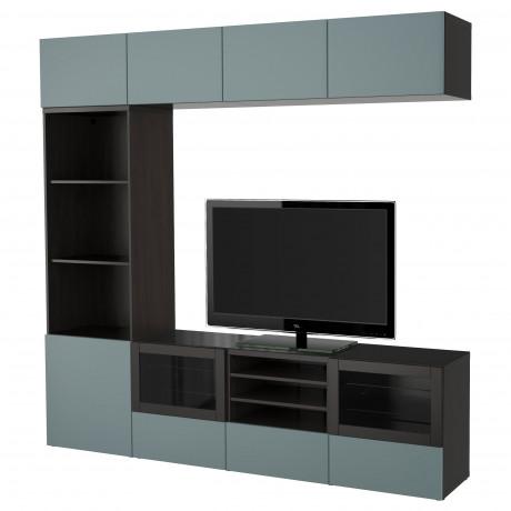 Шкаф для ТВ, комбин/стеклян дверцы БЕСТО Лаппвикен, Синдвик белый прозрачное стекло фото 10