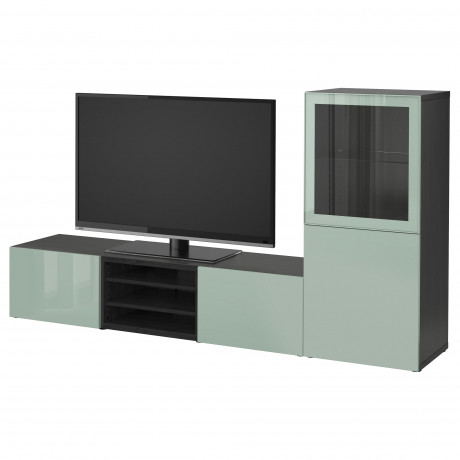 Шкаф для ТВ, комбин/стеклян дверцы БЕСТО Лаппвикен, Синдвик белый прозрачное стекло фото 16