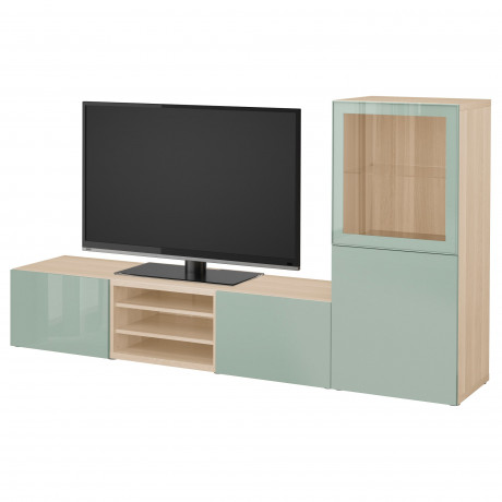 Шкаф для ТВ, комбин/стеклян дверцы БЕСТО Лаппвикен, Синдвик белый прозрачное стекло фото 47