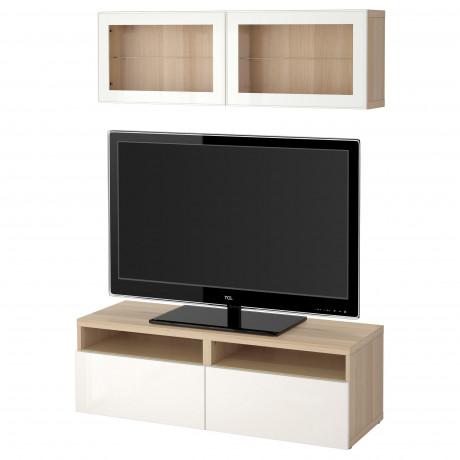Шкаф для ТВ, комбин/стеклян дверцы БЕСТО под беленый дуб, Сельсвикен глянцевый/белый матовое стекло фото 59