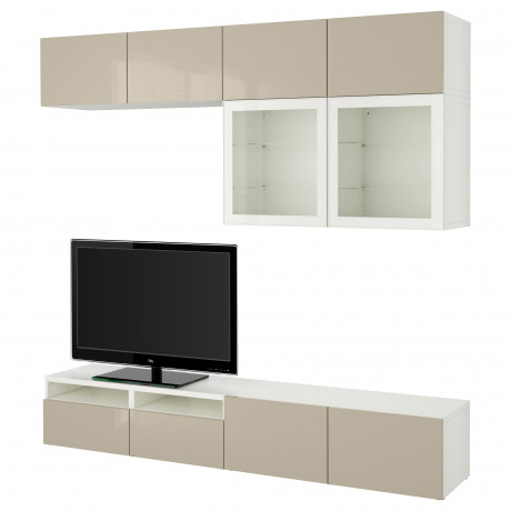 Шкаф для ТВ, комбин/стеклян дверцы БЕСТО Лаппвикен, Синдвик белый прозрачное стекло фото 30
