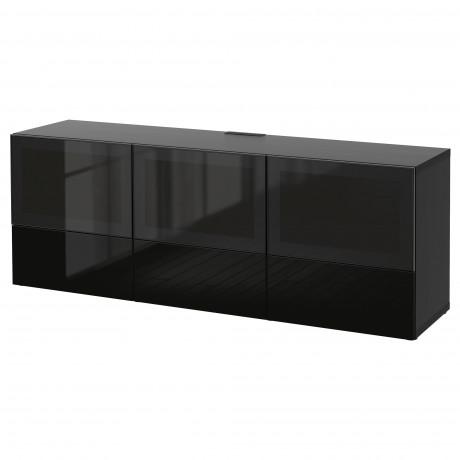 Тумба под ТВ, с дверцами и ящиками БЕСТО под беленый дуб, Вальвикен серо-бирюзовый, прозрачное стекло фото 47