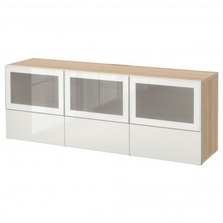 Тумба под ТВ, с дверцами и ящиками БЕСТО под беленый дуб, Вальвикен серо-бирюзовый, прозрачное стекло фото 66