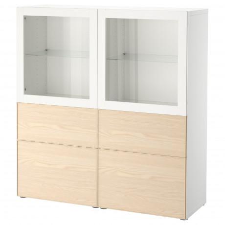 Комбинация д/хранения+стекл дверц БЕСТО белый, вассвикен белый прозрачное стекло фото 13