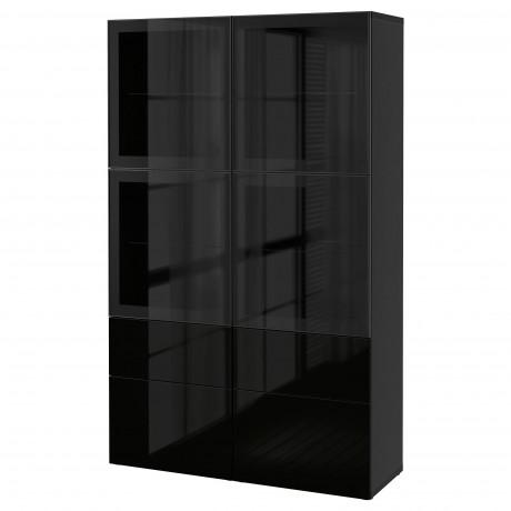 Комбинация д/хранения+стекл дверц БЕСТО Лаппвикен, Синдвик белый прозрачное стекло фото 37