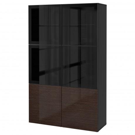 Комбинация д/хранения+стекл дверц БЕСТО Лаппвикен, Синдвик белый прозрачное стекло фото 54
