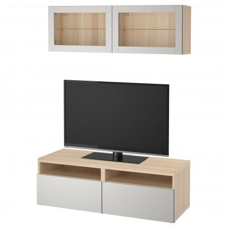 Шкаф для ТВ, комбин/стеклян дверцы БЕСТО под беленый дуб, Сельсвикен глянцевый/белый матовое стекло фото 3