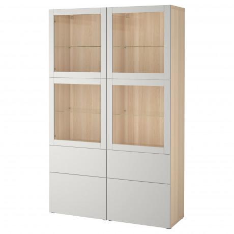 Комбинация д/хранения+стекл дверц БЕСТО Лаппвикен, Синдвик белый прозрачное стекло фото 4
