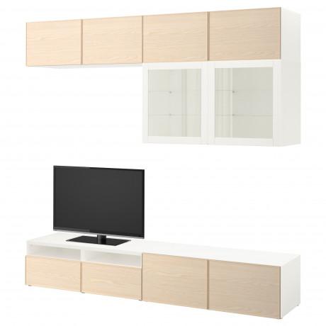 Шкаф для ТВ, комбин/стеклян дверцы БЕСТО Лаппвикен, Синдвик белый прозрачное стекло фото 15