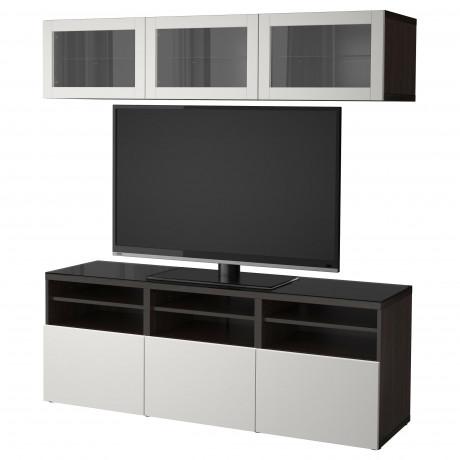 Шкаф для ТВ, комбин/стеклян дверцы БЕСТО Лаппвикен, Синдвик белый прозрачное стекло фото 1